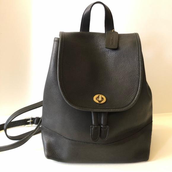 fa9019a8a7813 Coach Bags   Vintage Mini Backpack Day Bag Black Leather   Poshmark
